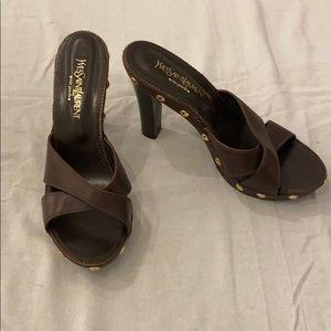 Auth Vintage YSL Brown Leather Platform Sandals